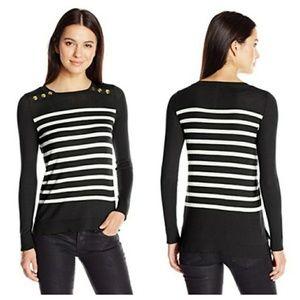 Kensie || Striped Crew Neck Sweater